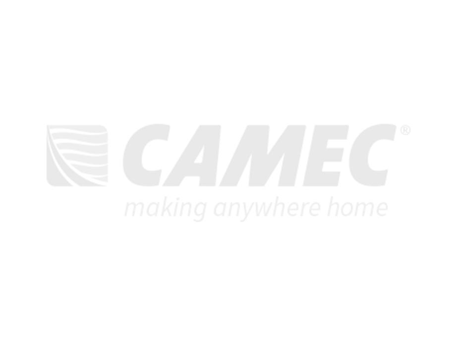 Camec Vista 2 Radius Corner Door - 1908 x 622 Right Hand Hinge Black Vent Premium Door Blind and Keyless Entry System