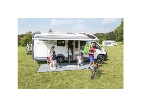 FIAMMA F45 S AWNING 2.6M - POLAR WHITE CASE - ROYAL BLUE AWNING